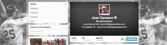 Jose Canseco, Twitter